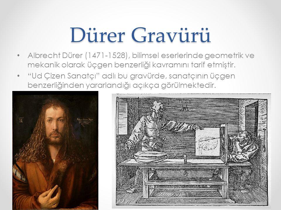 """Dürer Gravürü • Albrecht Dürer (1471-1528), bilimsel eserlerinde geometrik ve mekanik olarak üçgen benzerliği kavramını tarif etmiştir. • """"Ud Çizen Sa"""