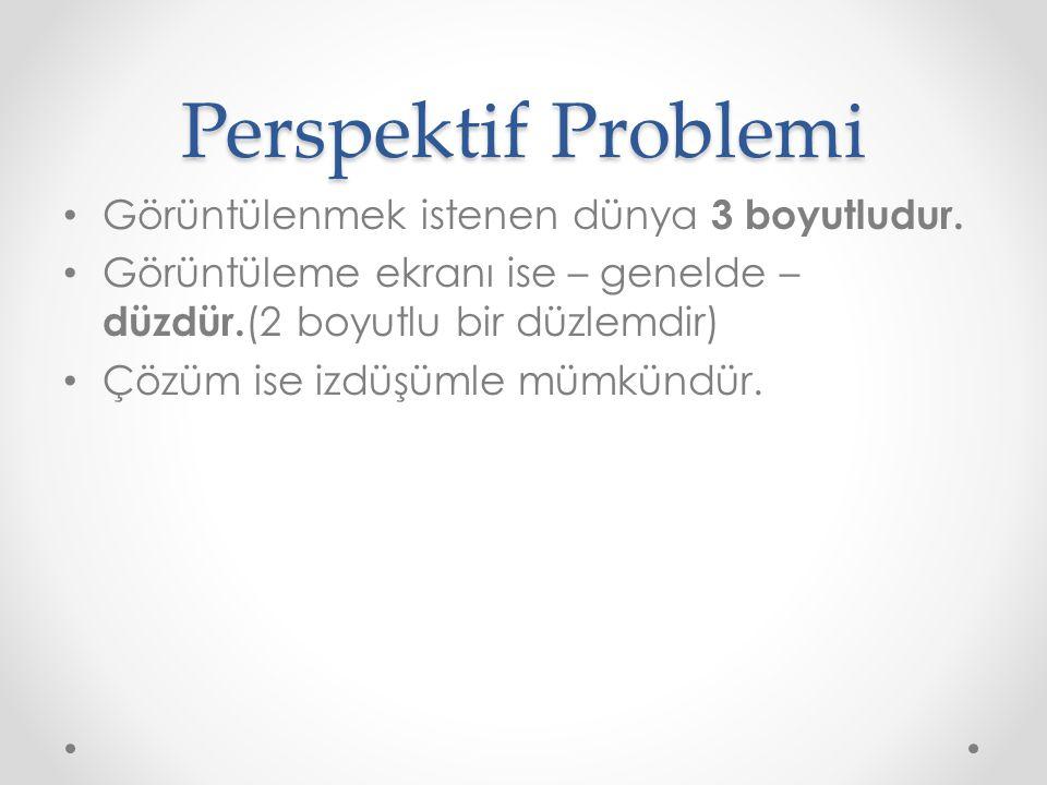 Perspektif Problemi • Görüntülenmek istenen dünya 3 boyutludur. • Görüntüleme ekranı ise – genelde – düzdür. (2 boyutlu bir düzlemdir) • Çözüm ise izd