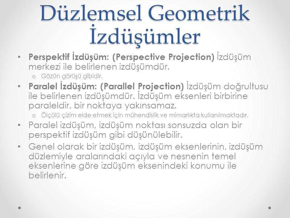 Düzlemsel Geometrik İzdüşümler • Perspektif İzdüşüm: (Perspective Projection) İzdüşüm merkezi ile belirlenen izdüşümdür. o Gözün görüşü gibidir. • Par