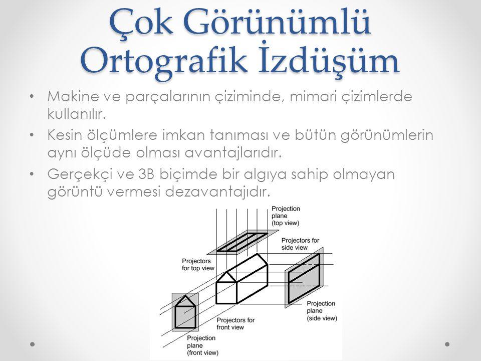 Çok Görünümlü Ortografik İzdüşüm • Makine ve parçalarının çiziminde, mimari çizimlerde kullanılır. • Kesin ölçümlere imkan tanıması ve bütün görünümle