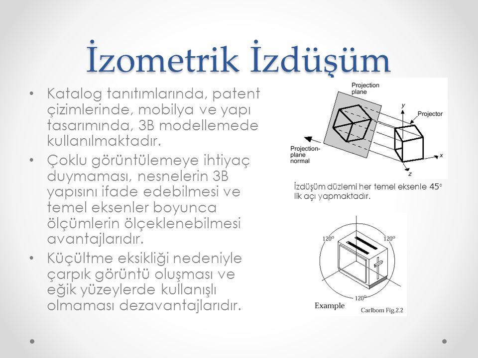 İzometrik İzdüşüm • Katalog tanıtımlarında, patent çizimlerinde, mobilya ve yapı tasarımında, 3B modellemede kullanılmaktadır. • Çoklu görüntülemeye i