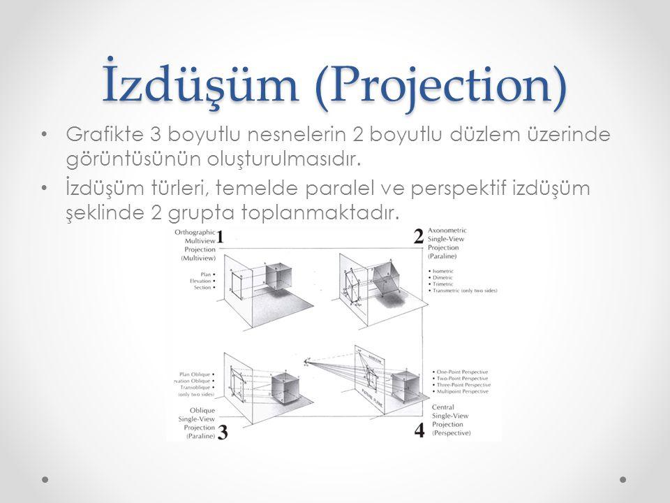 İzdüşüm (Projection) • Grafikte 3 boyutlu nesnelerin 2 boyutlu düzlem üzerinde görüntüsünün oluşturulmasıdır. • İzdüşüm türleri, temelde paralel ve pe