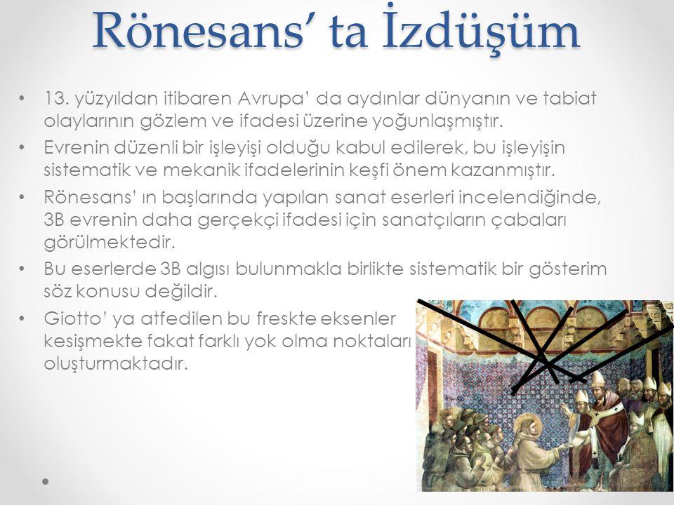Rönesans' ta İzdüşüm • 13. yüzyıldan itibaren Avrupa' da aydınlar dünyanın ve tabiat olaylarının gözlem ve ifadesi üzerine yoğunlaşmıştır. • Evrenin d