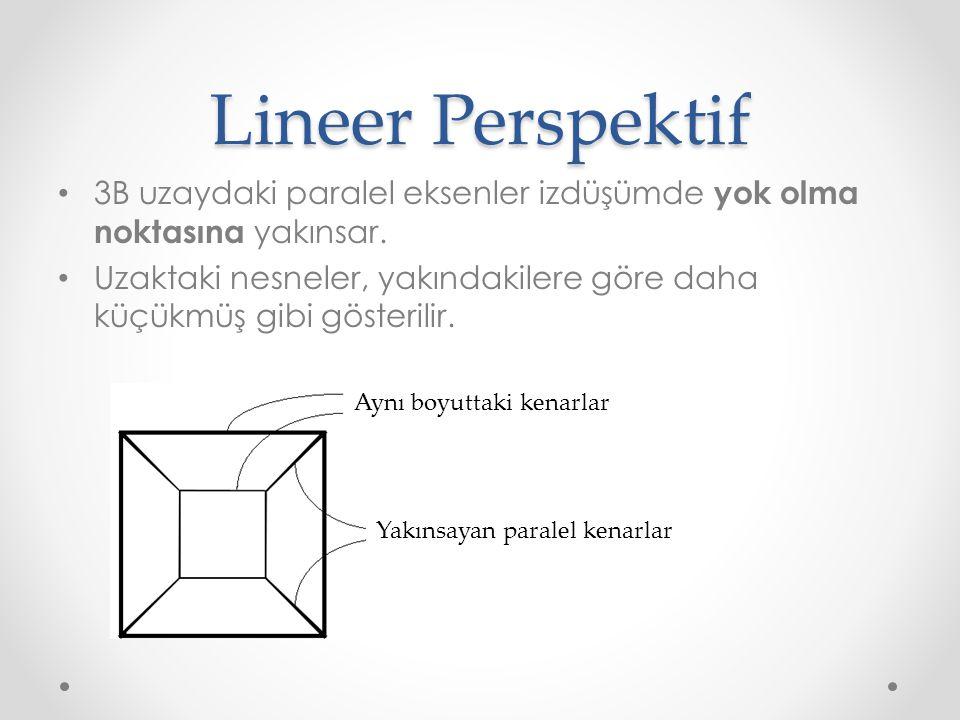 Lineer Perspektif • 3B uzaydaki paralel eksenler izdüşümde yok olma noktasına yakınsar. • Uzaktaki nesneler, yakındakilere göre daha küçükmüş gibi gös