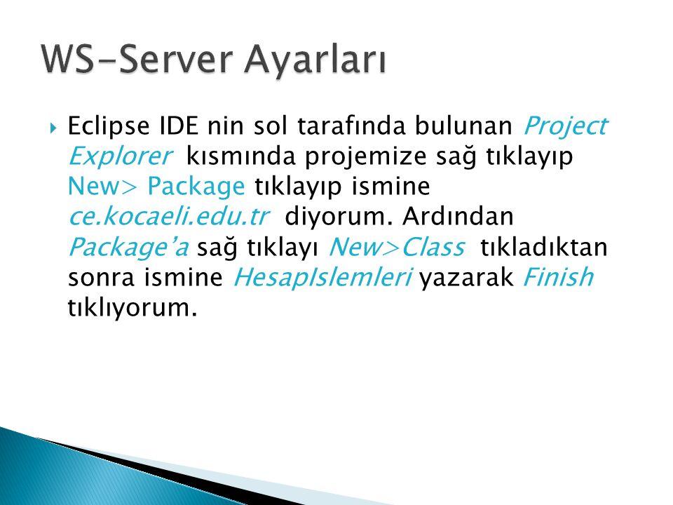  Eclipse IDE nin sol tarafında bulunan Project Explorer kısmında projemize sağ tıklayıp New> Package tıklayıp ismine ce.kocaeli.edu.tr diyorum. Ardın