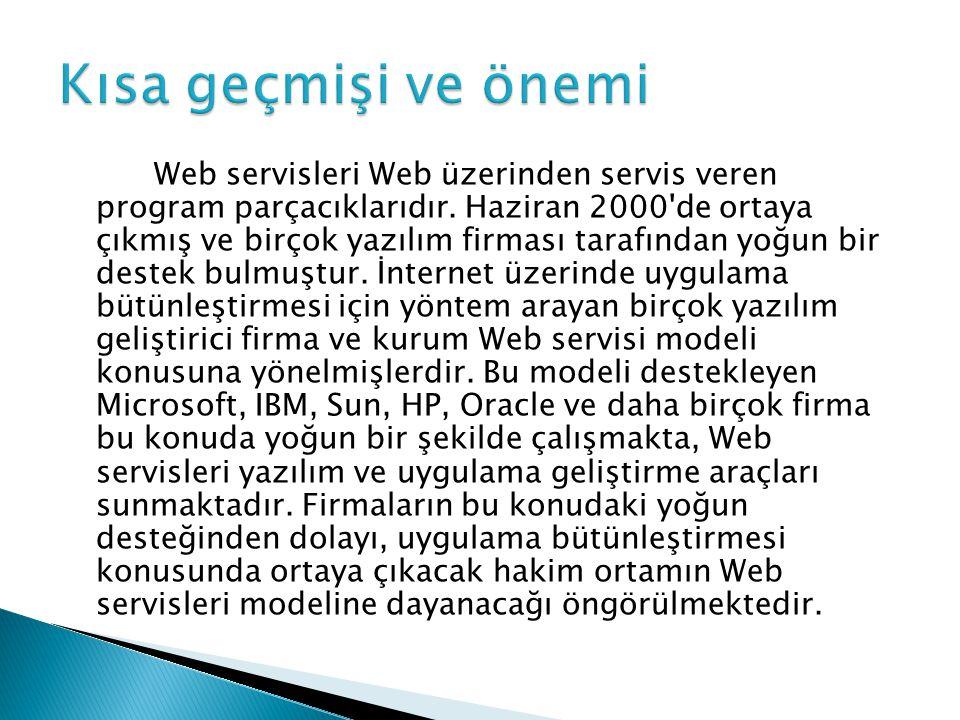 Web servisleri Web üzerinden servis veren program parçacıklarıdır. Haziran 2000'de ortaya çıkmış ve birçok yazılım firması tarafından yoğun bir destek