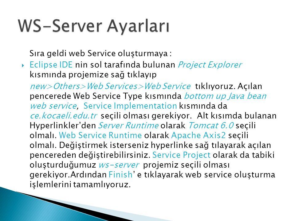 Sıra geldi web Service oluşturmaya :  Eclipse IDE nin sol tarafında bulunan Project Explorer kısmında projemize sağ tıklayıp new>Others>Web Services>Web Service tıklıyoruz.