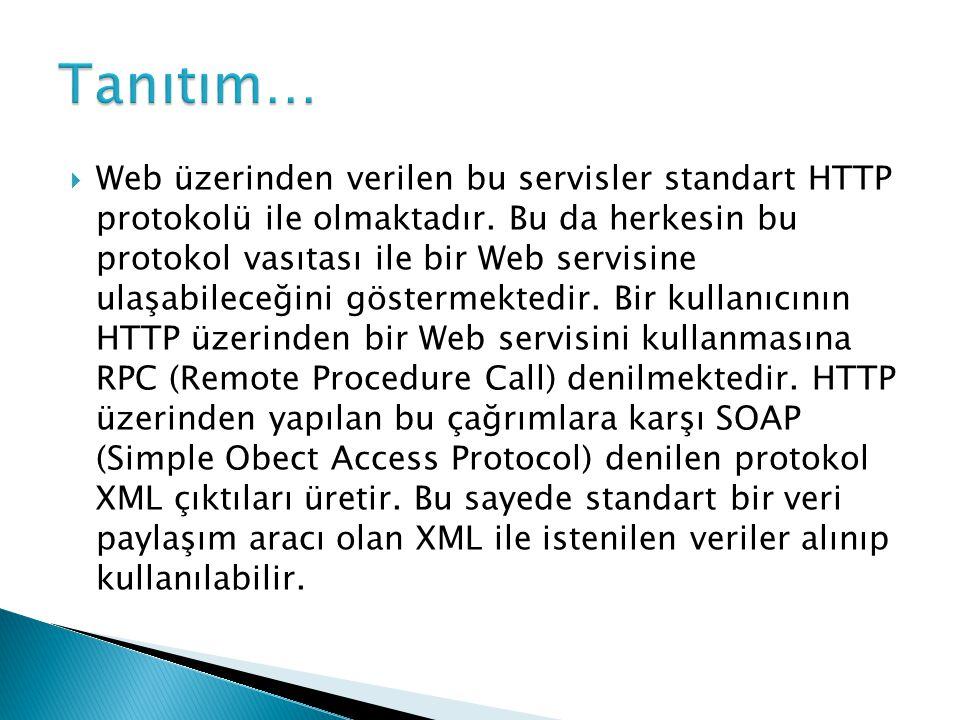  Web üzerinden verilen bu servisler standart HTTP protokolü ile olmaktadır. Bu da herkesin bu protokol vasıtası ile bir Web servisine ulaşabileceğini