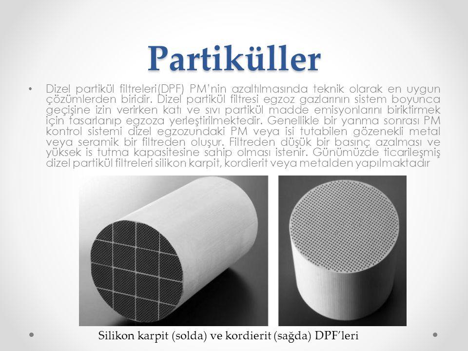 Partiküller • Dizel partikül filtreleri(DPF) PM'nin azaltılmasında teknik olarak en uygun çözümlerden biridir. Dizel partikül filtresi egzoz gazlarını