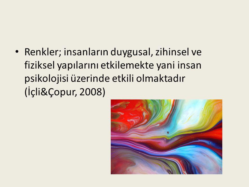 • Renkler; insanların duygusal, zihinsel ve fiziksel yapılarını etkilemekte yani insan psikolojisi üzerinde etkili olmaktadır (İçli&Çopur, 2008)