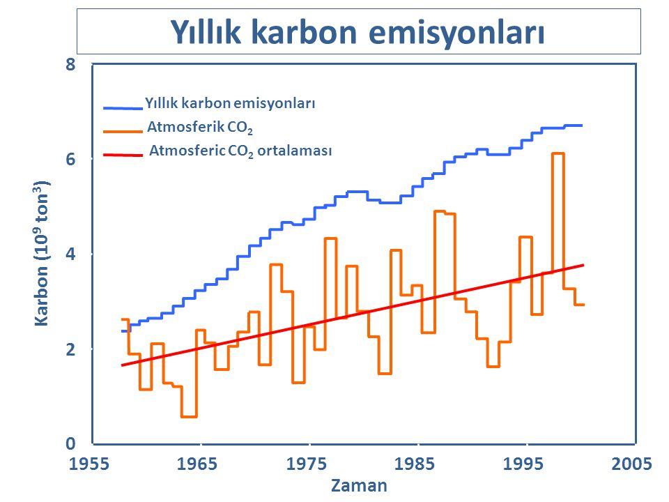 Yıllık karbon emisyonları Atmosferik CO 2 Atmosferic CO 2 ortalaması 195519651975198519952005 0 4 6 8 2 Zaman Karbon (10 9 ton 3 )