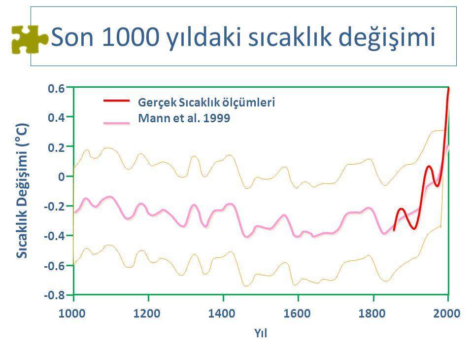 Son 1000 yıldaki sıcaklık değişimi 100012001400160018002000 -0.8 Yıl -0.6 -0.4 -0.2 0 0.2 0.4 0.6 Sıcaklık Değişimi (°C) Gerçek Sıcaklık ölçümleri Man