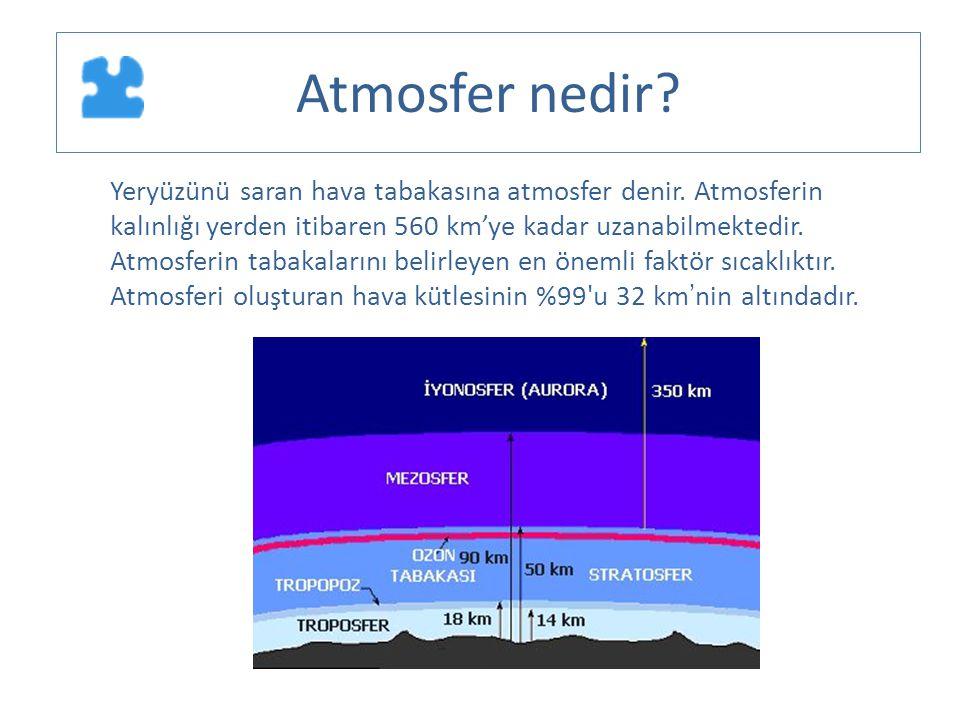 Yeryüzünü saran hava tabakasına atmosfer denir. Atmosferin kalınlığı yerden itibaren 560 km'ye kadar uzanabilmektedir. Atmosferin tabakalarını belirle