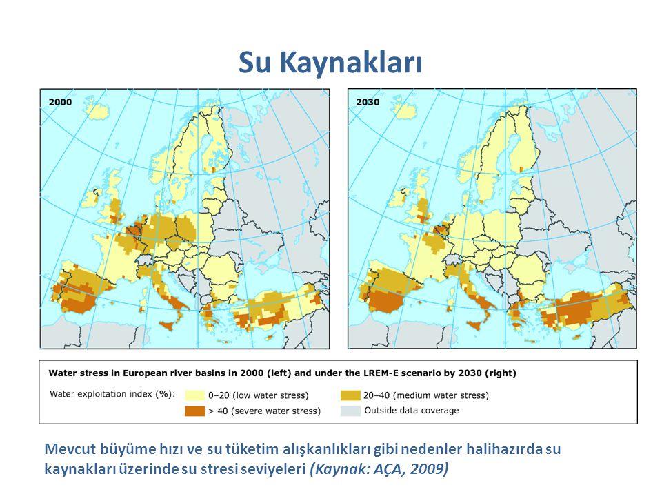 Su Kaynakları Mevcut büyüme hızı ve su tüketim alışkanlıkları gibi nedenler halihazırda su kaynakları üzerinde su stresi seviyeleri (Kaynak: AÇA, 2009