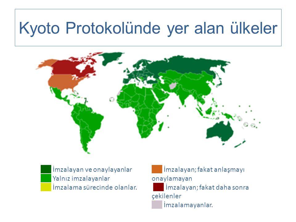 Kyoto Protokolünde yer alan ülkeler ██ İmzalayan ve onaylayanlar ██ Yalnız imzalayanlar ██ İmzalama sürecinde olanlar. ██ İmzalayan; fakat anlaşmayı o