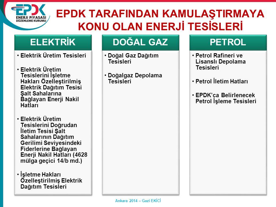 EPDK TARAFINDAN KAMULAŞTIRMAYA KONU OLAN ENERJİ TESİSLERİ ELEKTRİK •Elektrik Üretim Tesisleri •Elektrik Üretim Tesislerini İşletme Hakları Özelleştiri