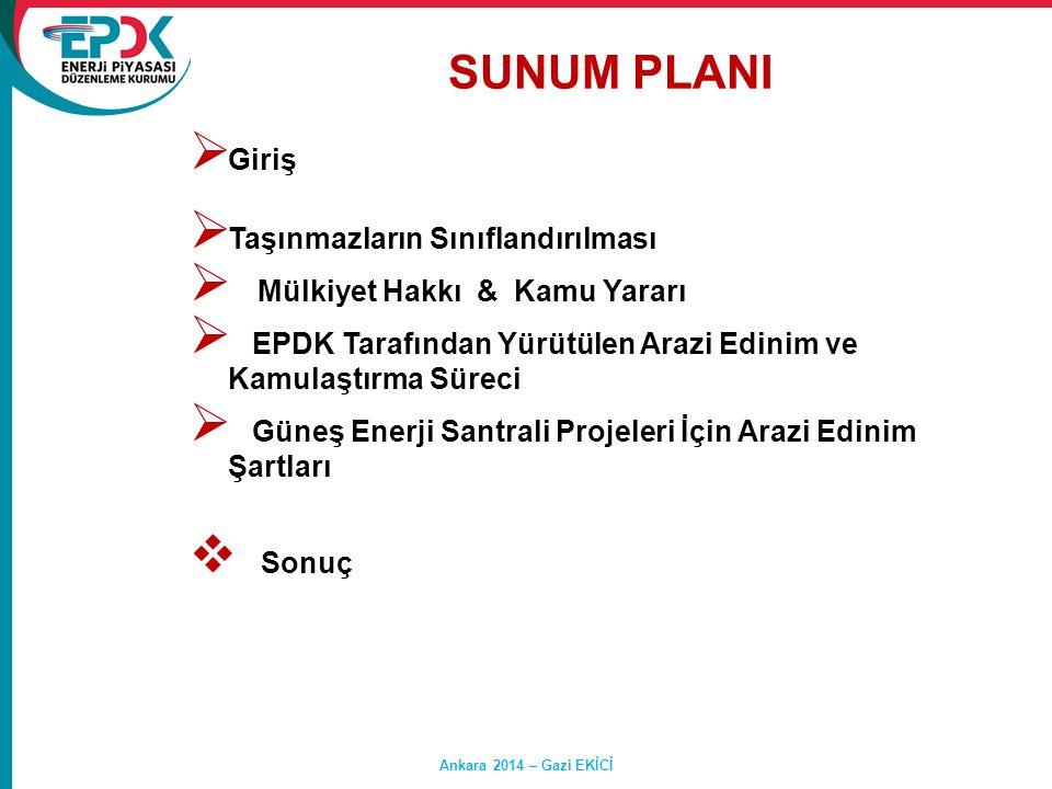 SUNUM PLANI Hasan SAY Ankara 2014 – Gazi EKİCİ  Giriş  Taşınmazların Sınıflandırılması  Mülkiyet Hakkı & Kamu Yararı  EPDK Tarafından Yürütülen Ar