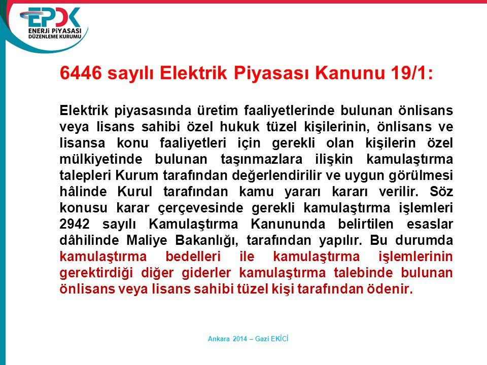6446 sayılı Elektrik Piyasası Kanunu 19/1: Elektrik piyasasında üretim faaliyetlerinde bulunan önlisans veya lisans sahibi özel hukuk tüzel kişilerini