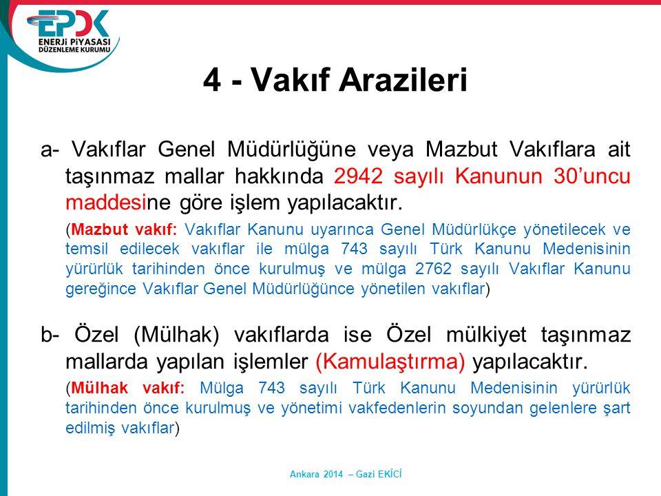Ankara 2014 – Gazi EKİCİ 4 - Vakıf Arazileri a- Vakıflar Genel Müdürlüğüne veya Mazbut Vakıflara ait taşınmaz mallar hakkında 2942 sayılı Kanunun 30'u