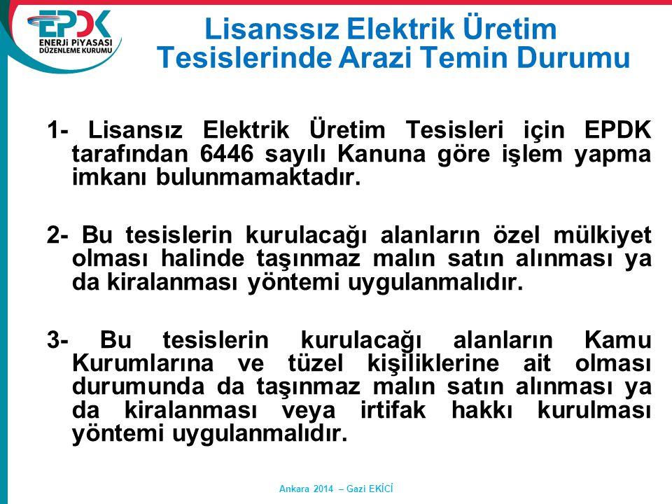 1- Lisansız Elektrik Üretim Tesisleri için EPDK tarafından 6446 sayılı Kanuna göre işlem yapma imkanı bulunmamaktadır. 2- Bu tesislerin kurulacağı ala