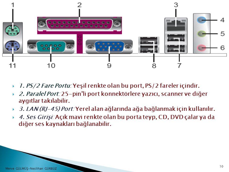  1. PS/2 Fare Portu: Yeşil renkte olan bu port, PS/2 fareler içindir.  2. Paralel Port: 25-pin'li port konnektörlere yazıcı, scanner ve diğer aygıtl