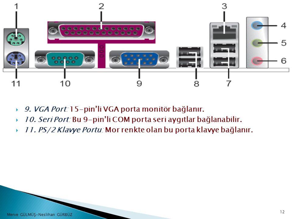  9. VGA Port: 15-pin'li VGA porta monitör bağlanır.  10. Seri Port: Bu 9-pin'li COM porta seri aygıtlar bağlanabilir.  11. PS/2 Klavye Portu: Mor r