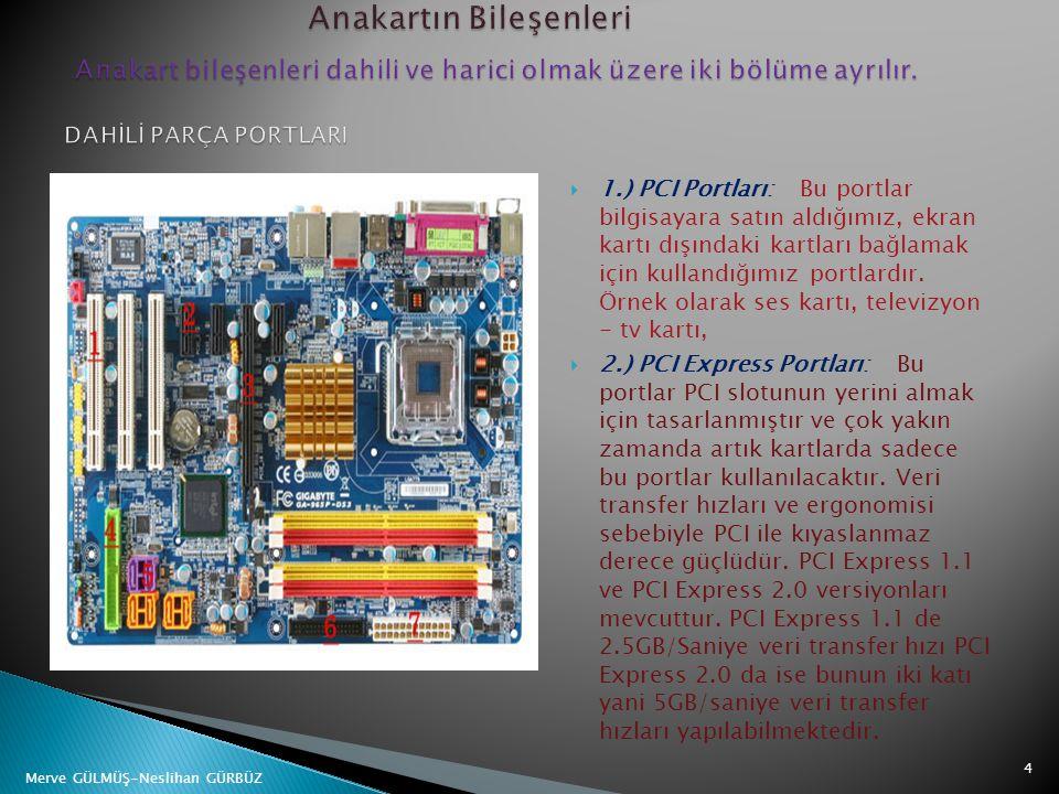  1.) PCI Portları: Bu portlar bilgisayara satın aldığımız, ekran kartı dışındaki kartları bağlamak için kullandığımız portlardır. Örnek olarak ses ka