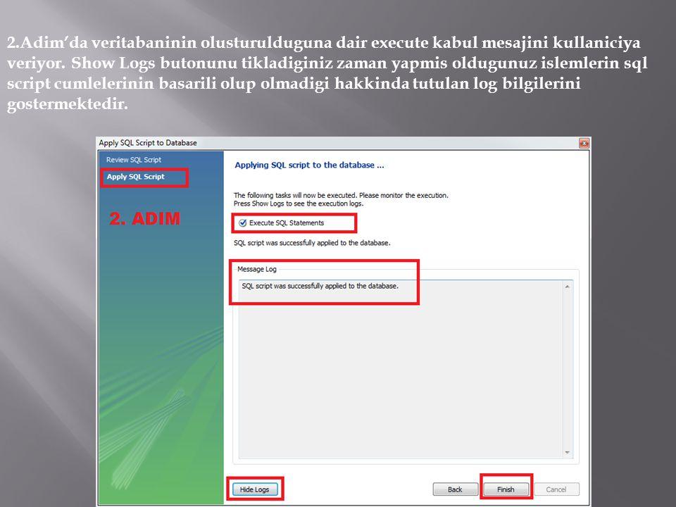 2.Adim'da veritabaninin olusturulduguna dair execute kabul mesajini kullaniciya veriyor.