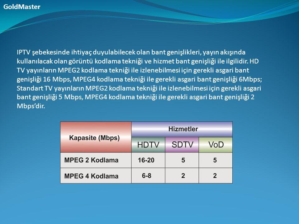 IPTV şebekesinde ihtiyaç duyulabilecek olan bant genişlikleri, yayın akışında kullanılacak olan görüntü kodlama tekniği ve hizmet bant genişliği ile i