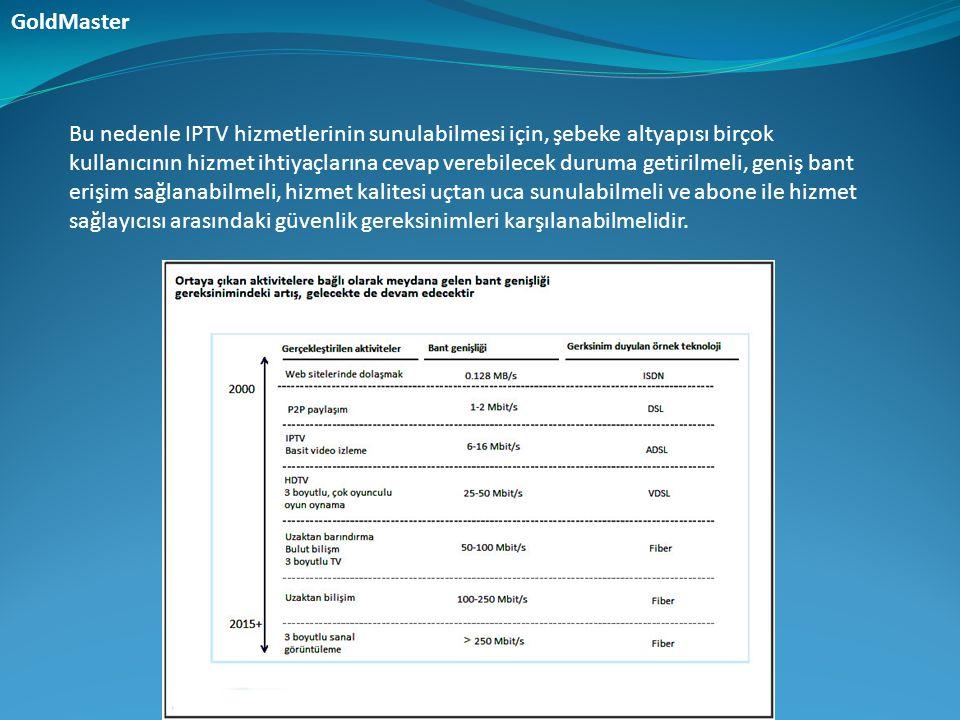 Bu nedenle IPTV hizmetlerinin sunulabilmesi için, şebeke altyapısı birçok kullanıcının hizmet ihtiyaçlarına cevap verebilecek duruma getirilmeli, geni