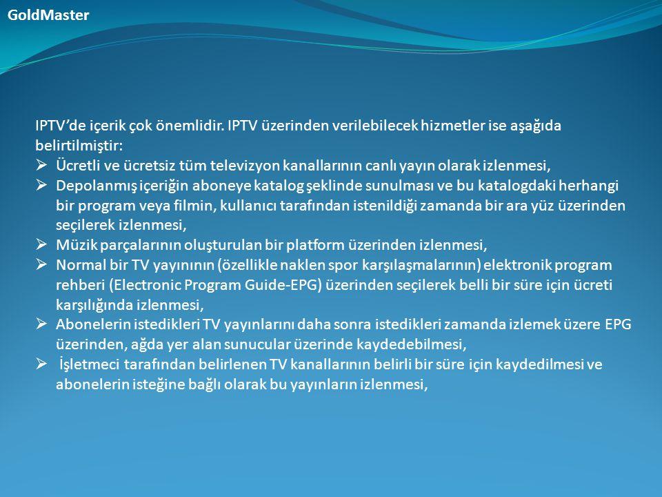 IPTV'de içerik çok önemlidir. IPTV üzerinden verilebilecek hizmetler ise aşağıda belirtilmiştir:  Ücretli ve ücretsiz tüm televizyon kanallarının can