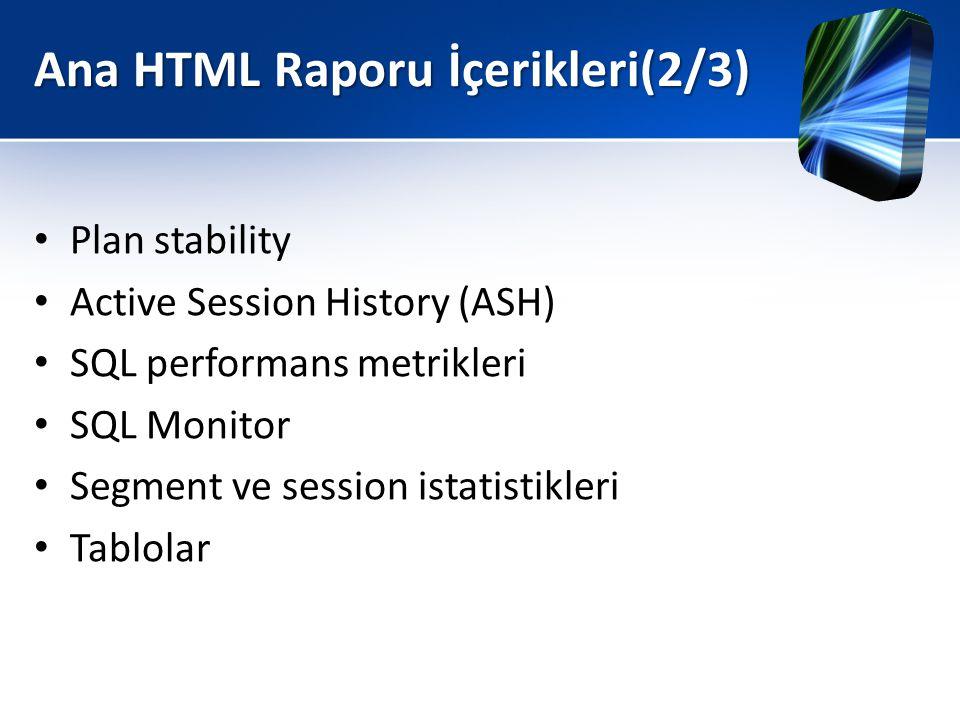 Ana HTML Raporu İçerikleri(2/3) • Plan stability • Active Session History (ASH) • SQL performans metrikleri • SQL Monitor • Segment ve session istatis