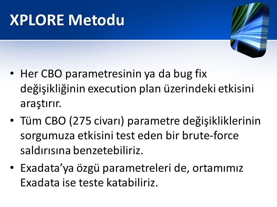 XPLORE Metodu • Her CBO parametresinin ya da bug fix değişikliğinin execution plan üzerindeki etkisini araştırır. • Tüm CBO (275 civarı) parametre değ