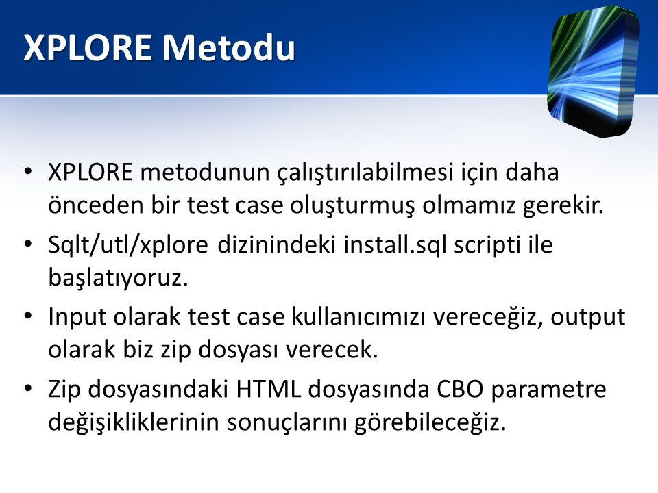 XPLORE Metodu • XPLORE metodunun çalıştırılabilmesi için daha önceden bir test case oluşturmuş olmamız gerekir. • Sqlt/utl/xplore dizinindeki install.
