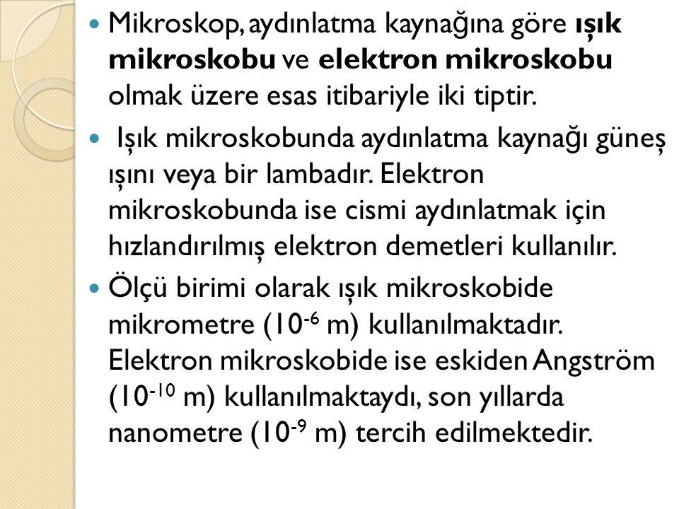  Mikroskop çeşidi:  A ) Işık mikroskopları:  Klasik mikroskop : 1- 0.5 mikron  Karanlık alan mikroskobu  Faz kontrast mikroskop  Ultraviyole mikroskobu: 0.5- 0.25 mikron  Fleurosans mikroskop  Polarizasyon mikroskobu  B ) Elektron mikroskopları:  SEM (Taramalı, scanning elektron mikroskobu) 300 Angstron  TEM ( İ letimli, Transmisyon elektron mikroskobu) 3 Angstron