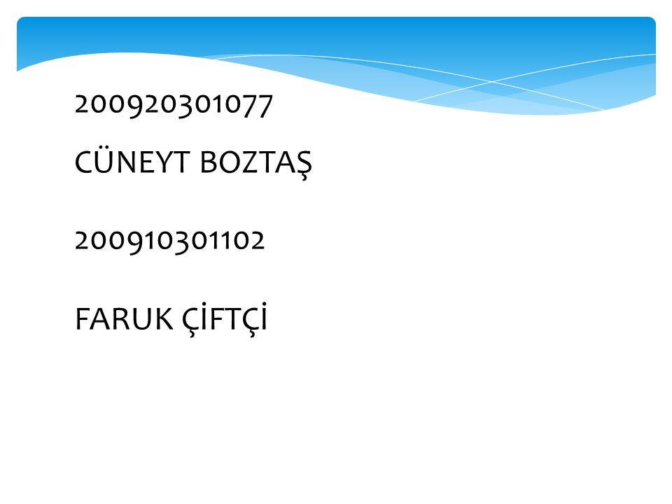 200920301077 CÜNEYT BOZTAŞ 200910301102 FARUK ÇİFTÇİ