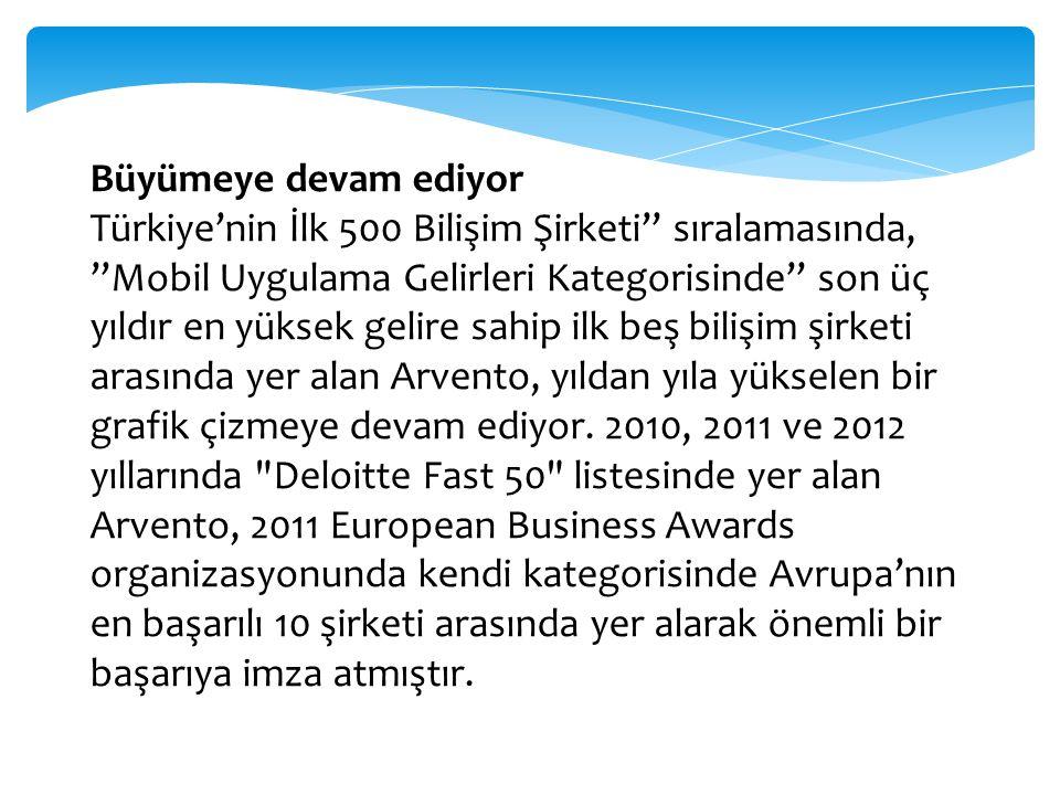 """Büyümeye devam ediyor Türkiye'nin İlk 500 Bilişim Şirketi"""" sıralamasında, """"Mobil Uygulama Gelirleri Kategorisinde"""" son üç yıldır en yüksek gelire sahi"""