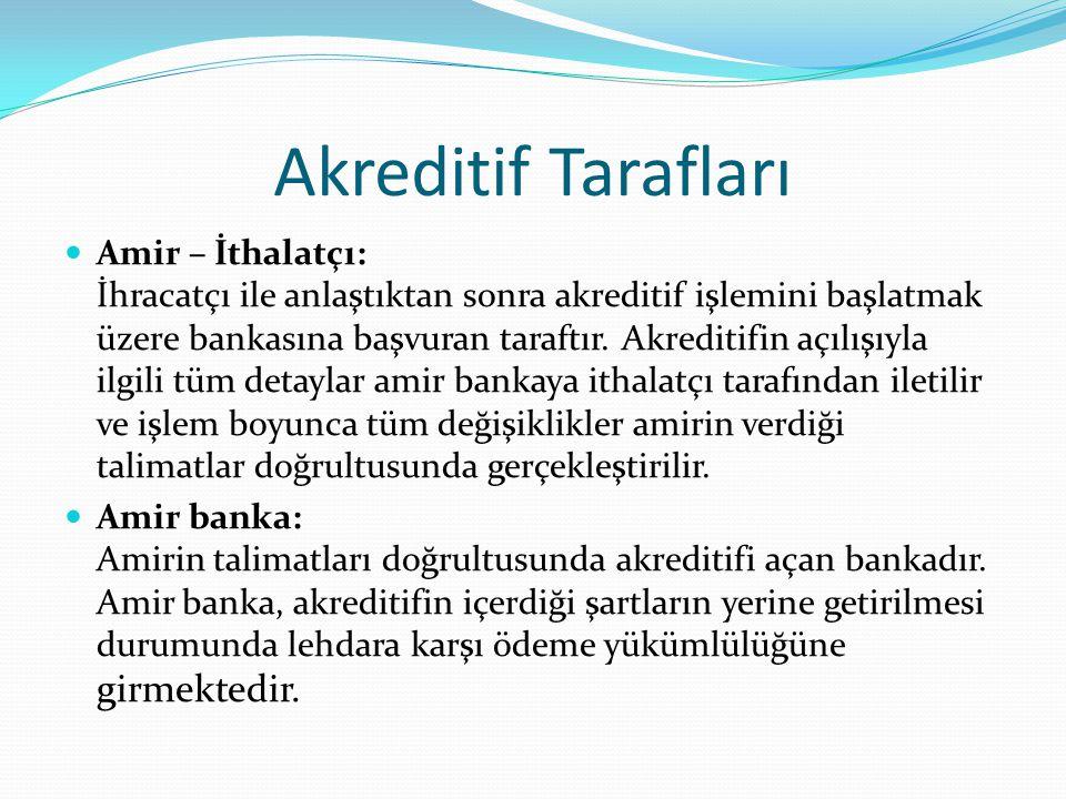 Akreditif Tarafları  Amir – İthalatçı: İhracatçı ile anlaştıktan sonra akreditif işlemini başlatmak üzere bankasına başvuran taraftır.