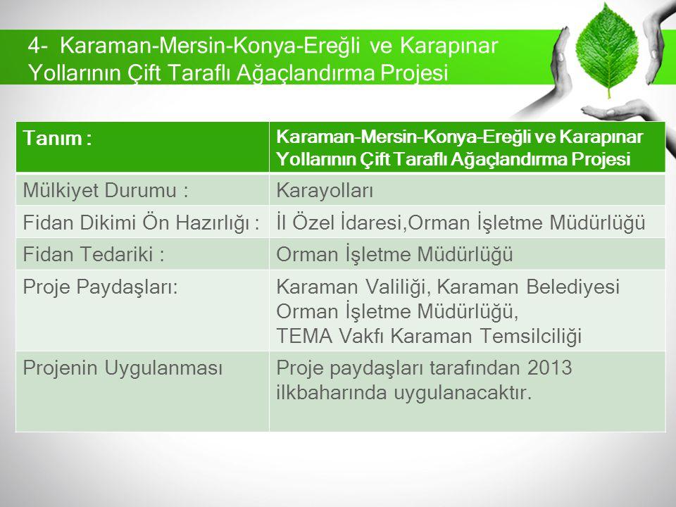 Tanım : Karaman-Mersin-Konya-Ereğli ve Karapınar Yollarının Çift Taraflı Ağaçlandırma Projesi Mülkiyet Durumu :Karayolları Fidan Dikimi Ön Hazırlığı :