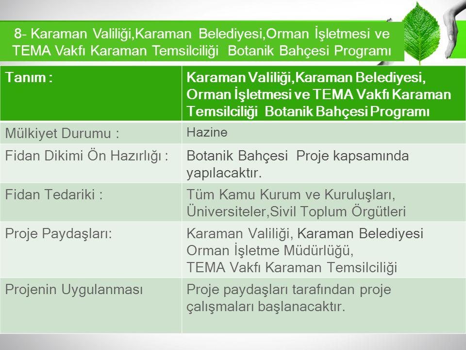 Tanım :Karaman Valiliği,Karaman Belediyesi, Orman İşletmesi ve TEMA Vakfı Karaman Temsilciliği Botanik Bahçesi Programı Mülkiyet Durumu : Hazine Fidan