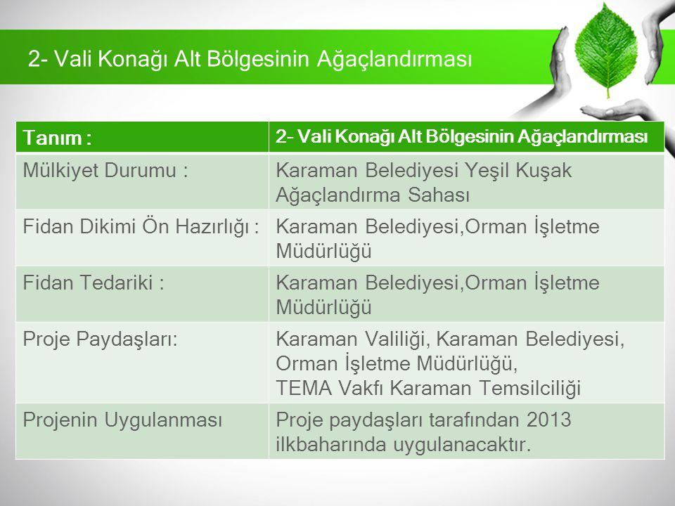 Tanım : 2- Vali Konağı Alt Bölgesinin Ağaçlandırması Mülkiyet Durumu :Karaman Belediyesi Yeşil Kuşak Ağaçlandırma Sahası Fidan Dikimi Ön Hazırlığı :Ka