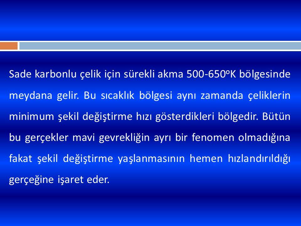 Sade karbonlu çelik için sürekli akma 500-650 o K bölgesinde meydana gelir. Bu sıcaklık bölgesi aynı zamanda çeliklerin minimum şekil değiştirme hızı
