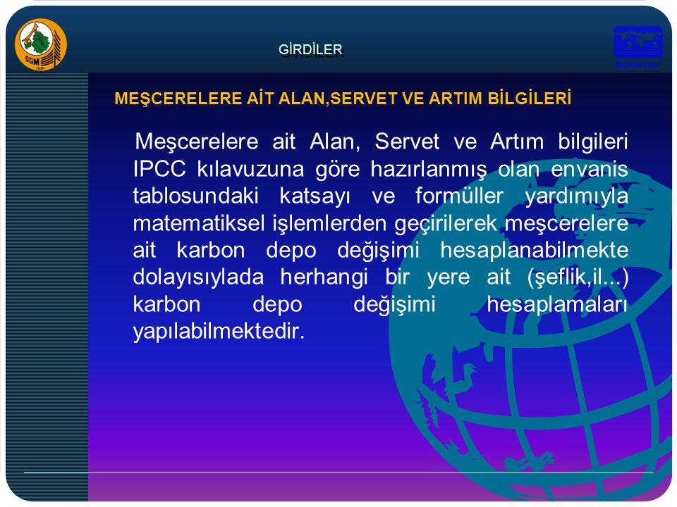 GİRDİLER Meşcerelere ait Alan, Servet ve Artım bilgileri IPCC kılavuzuna göre hazırlanmış olan envanis tablosundaki katsayı ve formüller yardımıyla ma