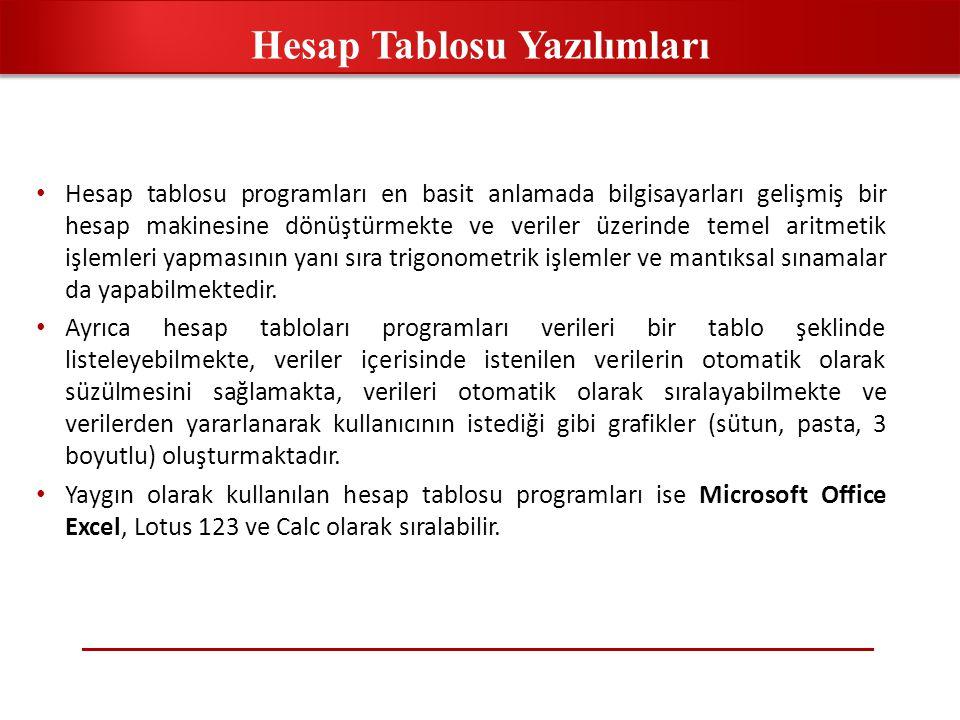 • Hesap tablosu programları en basit anlamada bilgisayarları gelişmiş bir hesap makinesine dönüştürmekte ve veriler üzerinde temel aritmetik işlemler
