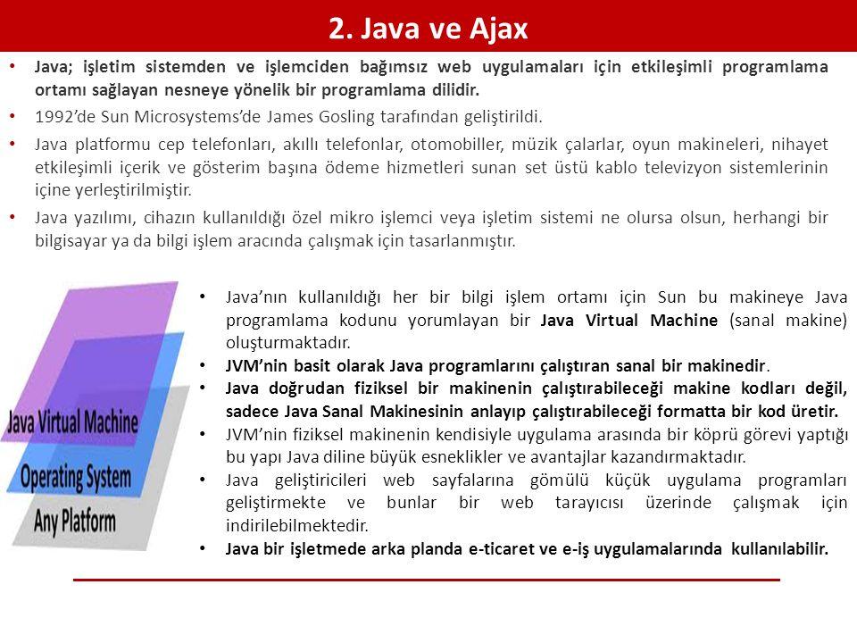 2. Java ve Ajax • Java; işletim sistemden ve işlemciden bağımsız web uygulamaları için etkileşimli programlama ortamı sağlayan nesneye yönelik bir pro