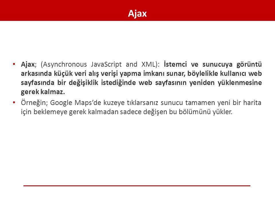 Ajax • Ajax; (Asynchronous JavaScript and XML): İstemci ve sunucuya görüntü arkasında küçük veri alış verişi yapma imkanı sunar, böylelikle kullanıcı