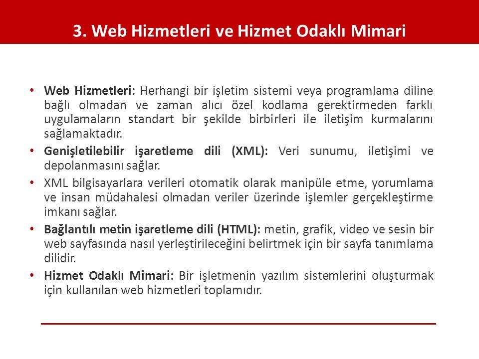 3. Web Hizmetleri ve Hizmet Odaklı Mimari • Web Hizmetleri: Herhangi bir işletim sistemi veya programlama diline bağlı olmadan ve zaman alıcı özel kod