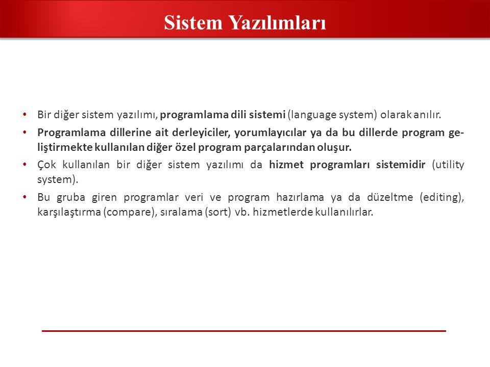 • Bir diğer sistem yazılımı, programlama dili sistemi (language system) olarak anılır. • Programlama dillerine ait derleyiciler, yorumlayıcılar ya da