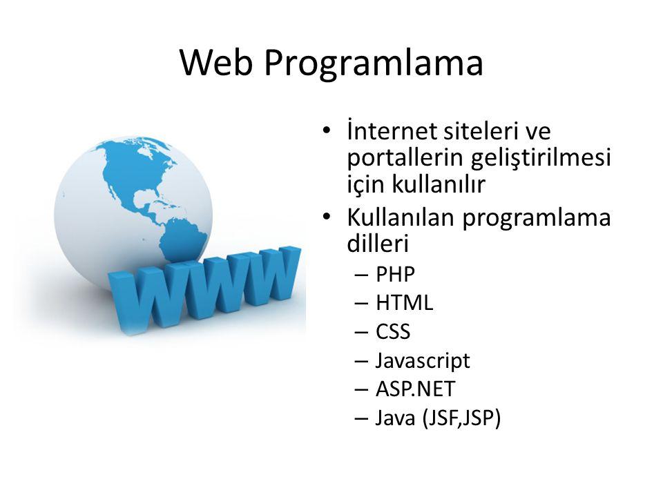 Web Programlama • İnternet siteleri ve portallerin geliştirilmesi için kullanılır • Kullanılan programlama dilleri – PHP – HTML – CSS – Javascript – A
