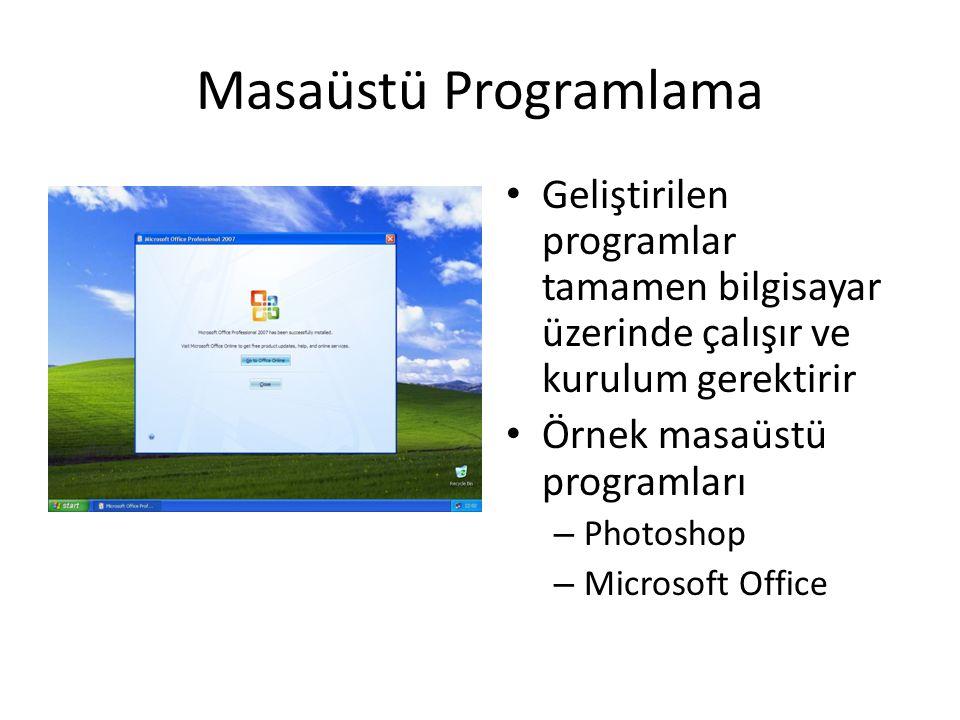 Masaüstü Programlama • Geliştirilen programlar tamamen bilgisayar üzerinde çalışır ve kurulum gerektirir • Örnek masaüstü programları – Photoshop – Mi